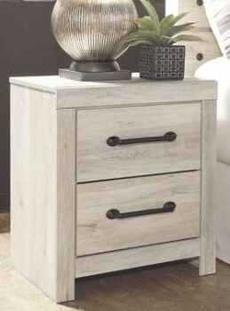 Ashley Camden Distressed White Wood-Look 2-Drawer Nightstand