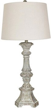 Crestview Distressed Grey Table Lamp with White Shade