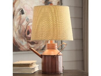 Crestview Watering Can Table Lamp with Beige Shade