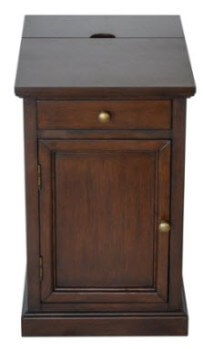 Crestview Dark Brown Side Table with USB
