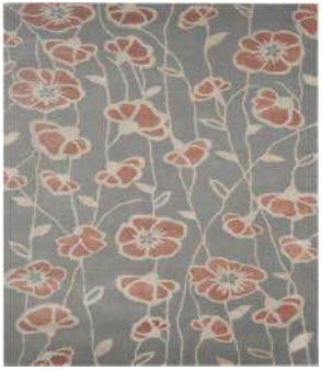 Rizzy Charcoal 5x8 Handtufted Wool Area Rug with Coral Poppies Design