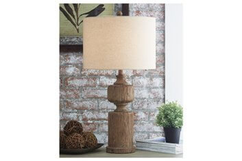 Ashley Distressed Hardwood Table Lamp