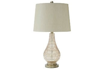 Ashley Sculpted & Textured Clear Glass Table Lamp with Off White Lampshade