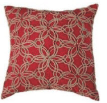 Rizzy Red & Ivory Floral Ribbon Throw Pillows (set of 2)