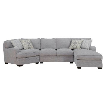 Emerald Analiese Light Grey 3-Piece Sectional with Cuddler on the Left