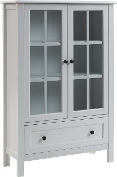 Ashley White Bookcase with Glass Doors