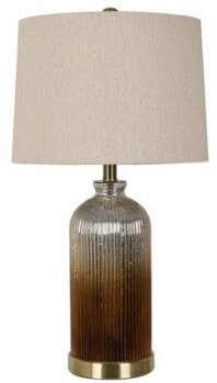 Crestview Brown & Charcoal Glass Table Lamp with Off-White Shade