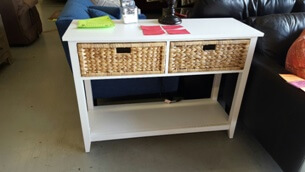 Acme White Console Table with Storage Drawers & Woven Accents
