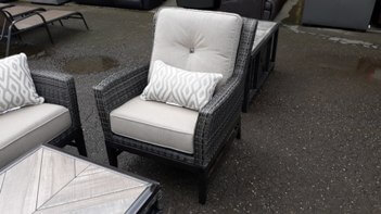 Agio PVC Wicker Chair with Beige Cushions & Metal Base