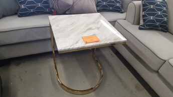 Hammary Allura Marble Top Snack Table with Gold Base