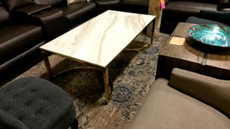 Bernhardt Allura Marble Coffee Table with Gold Base