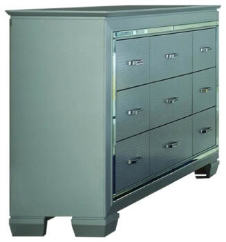 Homelegance Allura Textured Silver Dresser with Mirrored Accents