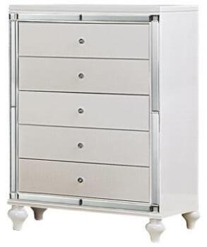 Homelegance Alonza White Textured Chest with Mirrored Accents