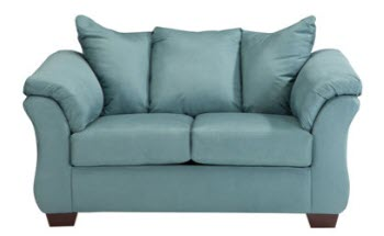 Ashley Madeline Light Teal Microsuede Loveseat with Flaired Arms