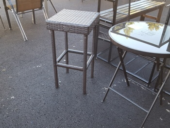 Outdoor PVC Wicker Backless Barstool
