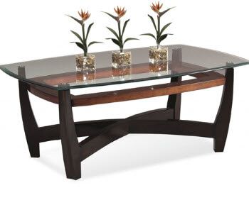 Bassett Black & Copper Finish Rectangular Coffee Table with Glass Top