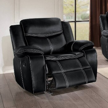 Homelegance Bastrop Black Leather Gel Match Gliding Recliner