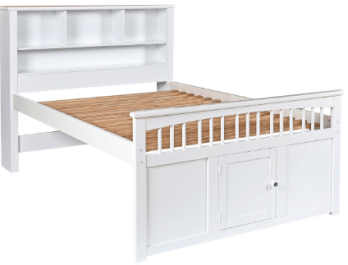 New Classic White Twin Bed with Bookcase Headboard