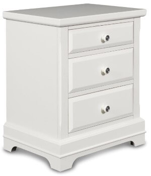 New Classic White Twin 3-Drawer Nightstand