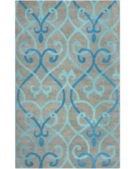 Rizzy Charcoal & Blue Scrolls 5x8 Area Rug