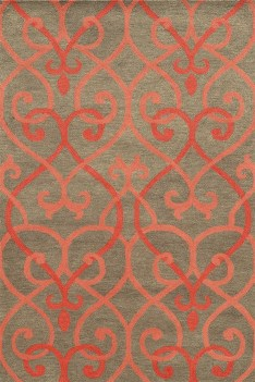 Rizzy Charcoal & Coral Scrolls 9x12 Area Rug