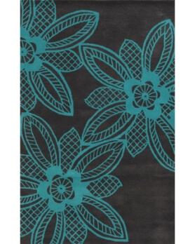 Rizzy Charcoal & Blue Foliage 5x8 Area Rug