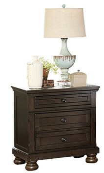 Homelegance Begonia Charcoal 3-Drawer Nightstand with Wide Trim Accents