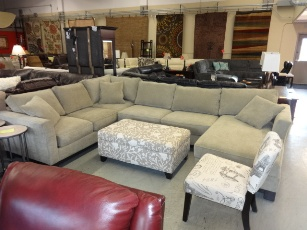 Jonathan Louis Beige Chenille Sectional with Chaise & Flaired Arms