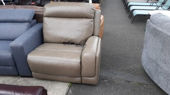Jason Furniture Beige Leather One-Arm Power Recliner