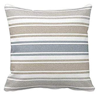 Blue, Beige & Ivory Striped Throw Pillows (set of 2)