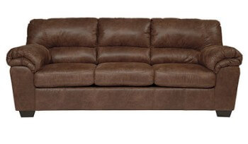 Benton Toffee Microsuede Sofa with Contrast Stitching Accents