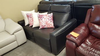 Chateau Dax Black Italian Leather Power Reclining Loveseat