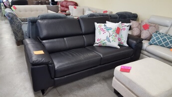 HTL Black Leather Sofa with Adjustable Headrests