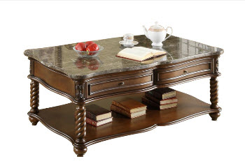 Homelegance Contoured Black Marble Top Coffee Table with Carved Accents