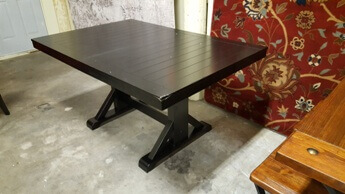 Antique Black Rectangular Dining Table with Butterfly Leaf (blemish)