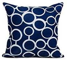 Dark Blue Throw Pillows with White Circle Accents (set of 2)