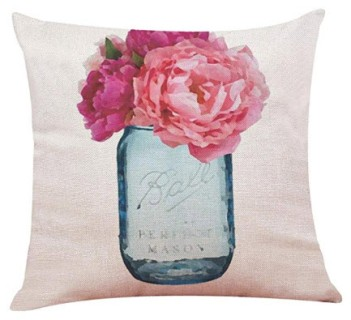 Blue Ball Jar Throw Pillow