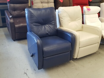 Great Leisure Valencia Sapphire Blue Leather Pushback Swivel Recliner