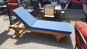 Outdoor Hardwood Chaise with Blue Cushions
