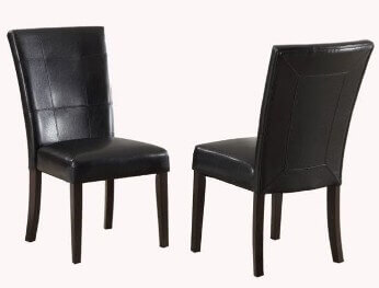 Modus Bossa Black Faux Leather Dining Chairs (set of 2)