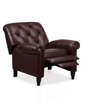 Futura Martha Stewart Bradyn Leather Recliner in Eden Brown