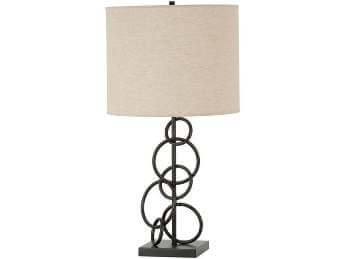 Coaster Bronze Circles Table Lamp with Round Beige Lampshade