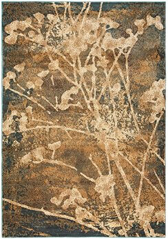 Rizzy Blue, Beige & Ivory Abstract Foliage Area Rug 5-3x7-7 Area Rug