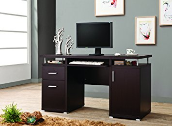 Coaster Cappuccino Finish Desk with Brushed Nickel Accents