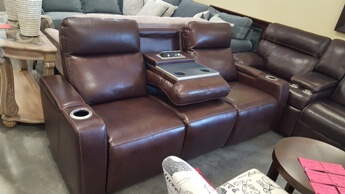 Manwah Dark Brown Leather Power Reclining Sofa with Adjustable Headrests & Drop-Down Console