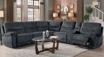 Homelegance Columbus Charcoal Fabric 6 Piece Reclining Sectional with Console