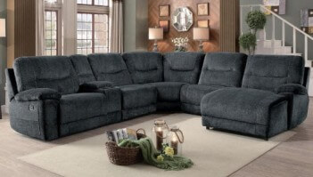 Homelegance Columbus Charcoal Fabric 6 Piece Reclining Sectional with Console & Right Hand Chaise