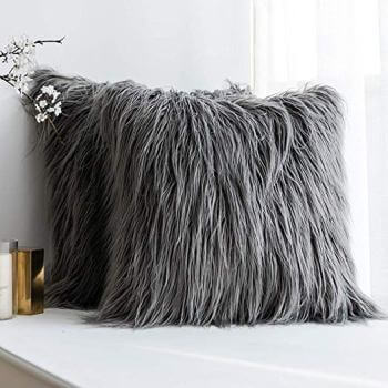 Charcoal Faux Fur Throw Pillows (set of 2)