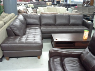 Natuzzi Chocolate Italian Leather Sectional with Chaise