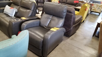 Synergy Criss Charcoal Leather Power Recliner with Adjustable Headrest & USB